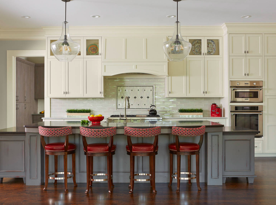 Red counter stools - How to choose the best counter stools by Michelle Reid at Designer Girl Interiors.com